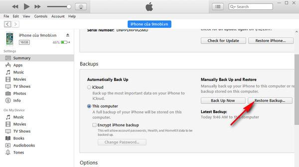 Chọn Back Up Now để tiến hành sao lưu dữ liệu iPhone qua iTunes