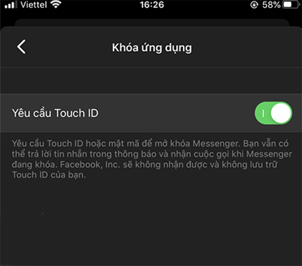 Khóa mess trên iPhone bằng tính năng Khóa ứng dụng trên Messenger (2)