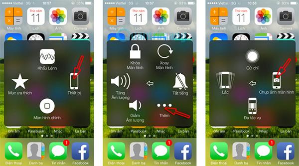 Cách chụp ảnh màn hình iPhone bằng phím HOME ảo