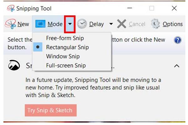 Các tùy chọn ảnh chụp màn hình với ứng dụng Snipping Tool