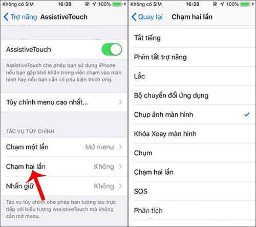 Chụp màn hình iPhone bằng cách chạm 2 lần nút HOME ảo