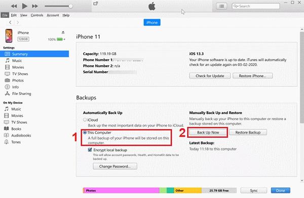 Cách chuyển tin nhắn từ iPhone sang iPhone bằng iTunes