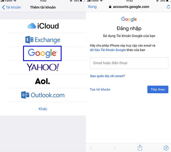 Chọn tài khoản Google