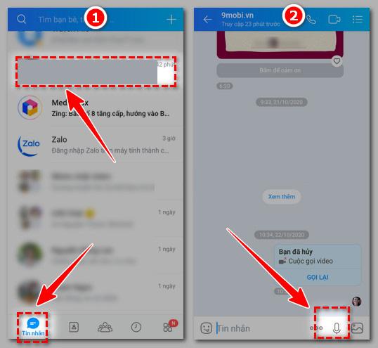 Cách gửi tin nhắn thoại qua Zalo trên Android