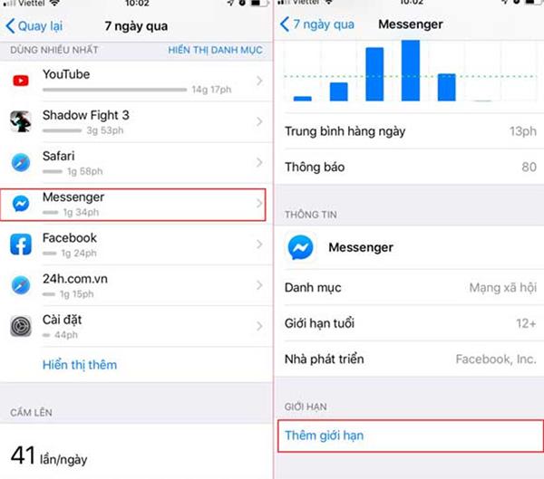 Cài mật khẩu Messenger trên iPhone bằng tính năng Thời gian sử dụng trên iPhone (4)
