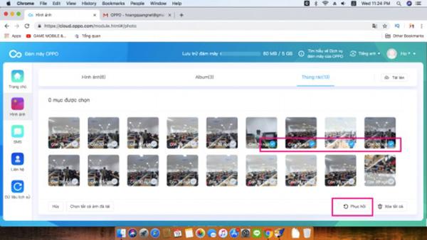 Lựa chọn những hình ảnh mà bạn muốn khôi phục trên điện thoại OPPO
