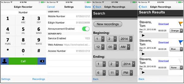 Phần mềm ghi âm cuộc gọi trên iPhone Edigin Call Recorder