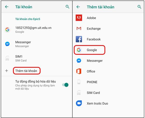 Hướng dẫn đồng bộ danh bạ Android lên Gmail