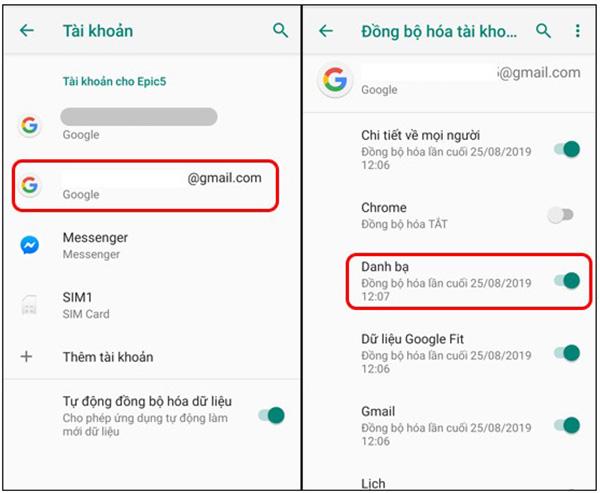 Đăng nhập tài khoản Gmail để sao lưu và đồng bộ danh bạ Android lên Gmail