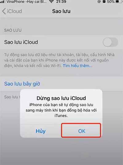 Cách tắt tính năng sao lưu iCloud trên iPhone
