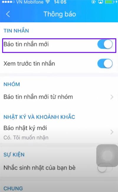 Cách tắt thông báo tin nhắn trên Zalo (2)