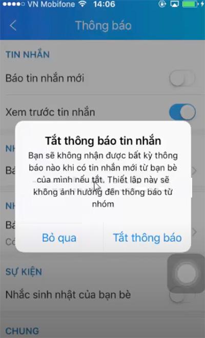 Cách tắt thông báo tin nhắn trên Zalo (3)