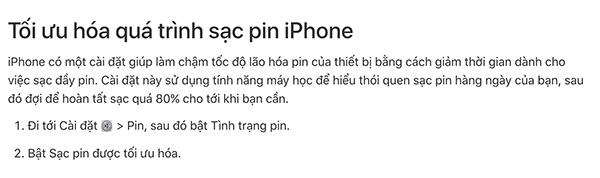 Tối ưu hóa sạc pin iPhone