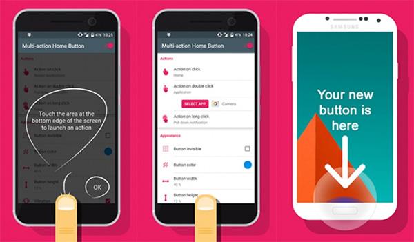 Ứng dụng khóa màn hình Android không cần nút nguồn Multi-Action Home Button