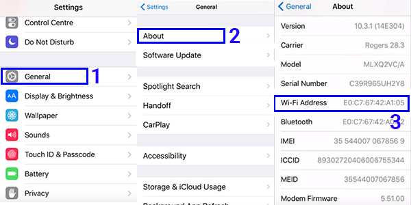 Cách xem địa chỉ MAC trên iPhone
