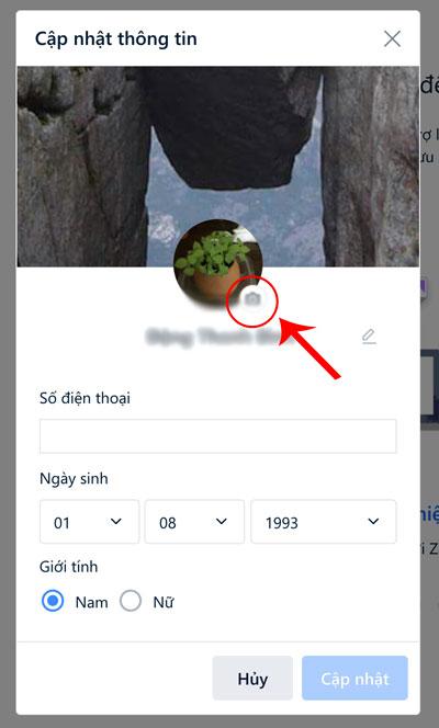 Click vào icon có hình camera để đổi ảnh đại diện Zalo