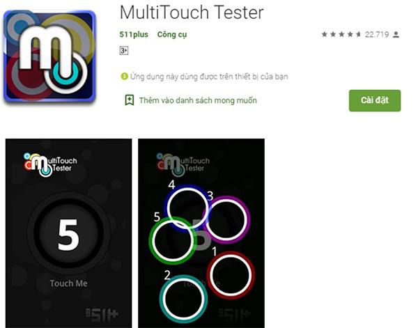 Phần mềm kiểm tra điểm chết trên màn hình điện thoại MultiTouch Tester