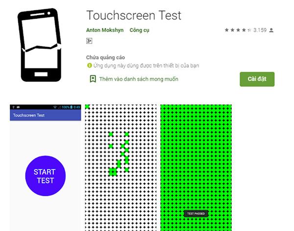 Phần mềm kiểm tra điểm chết trên màn hình điện thoại Touchscreen Test