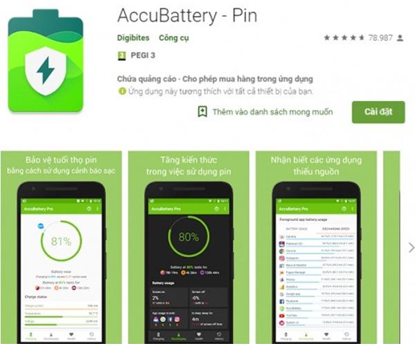 Kiểm tra chai pin Android bằng ứng dụng AccuBattery - Pin