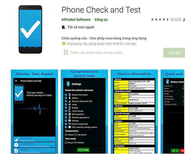 Phần mềm kiểm tra phần cứng điện thoại Phone Check and Test