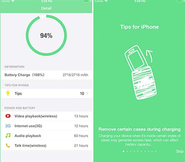 Kiểm tra độ chai pin iPhone bằng Battery Care