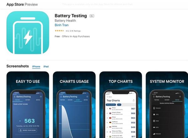 Kiểm tra độ chai pin iPhone bằng Battery Testing