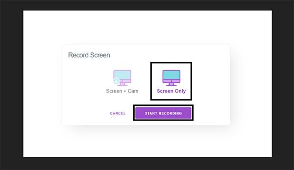 START RECORDING để bắt đầu quá trình quay video màn hình máy tính
