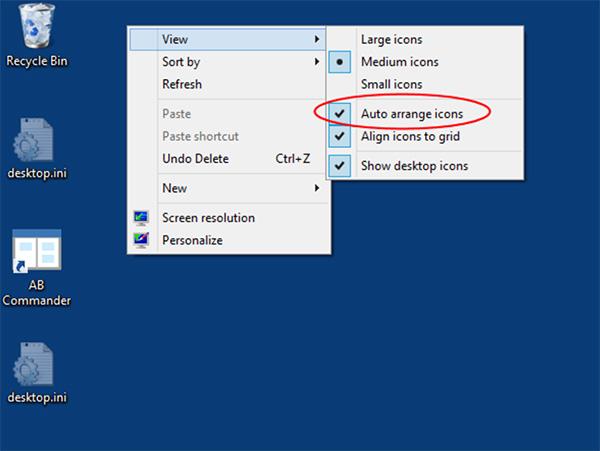 Desktop >> View >> Auto arrange icons