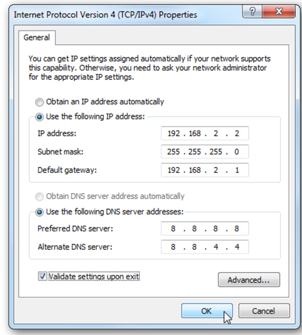 Nhập thông tin DNS của Google vào ô phía dưới như hình