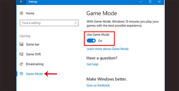Bật chế độ Game Mode giúp tối ưu hiệu suất máy tính để chơi game