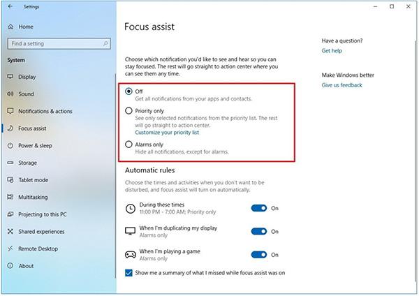 Cách vô hiệu hóa thông báo trên Windows 10