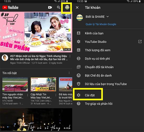 Chọn biểu tượng ảnh đại diện tài khoản tại trang chủ YouTube