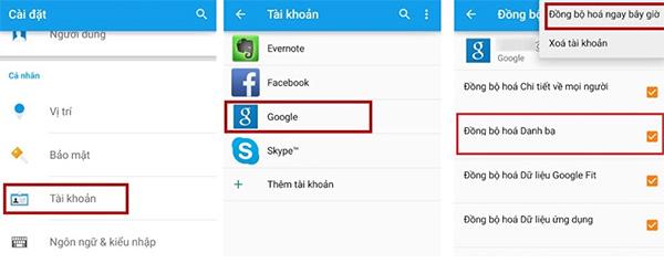 Chuyển danh bạ từ Android sang Android qua tài khoản Google