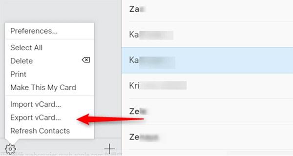 Xuất file danh bạ dưới dạng tập tin vCard