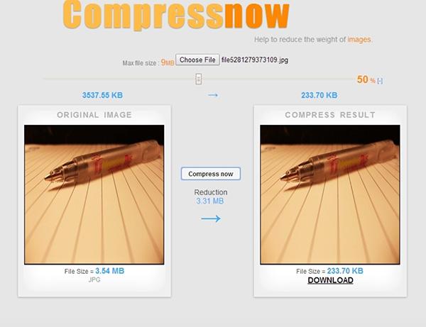 Giảm dung lượng ảnh Online bằng Compressnow