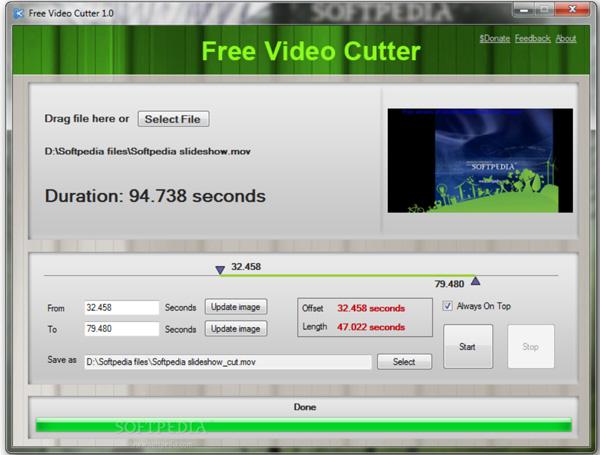 Phần mềm cắt video nhẹ Free Video Cutter
