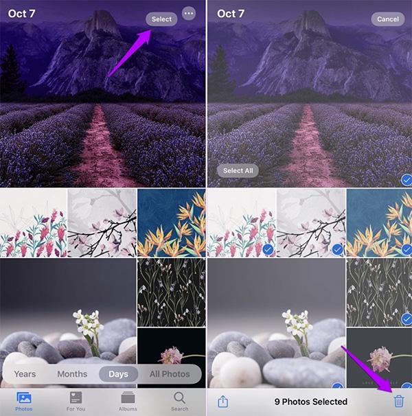 Chỉ cần chọn cùng lúc nhiều ảnh để xóa nhiều ảnh trên iCloud