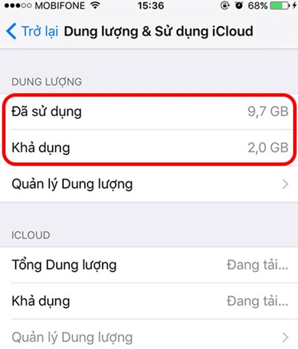 Kiểm tra dung lượng iCloud còn trống (1)
