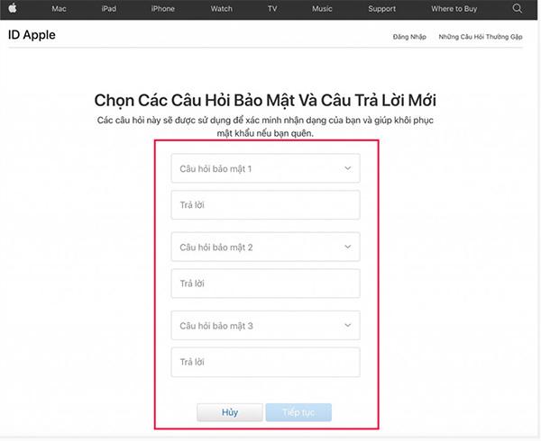 Chọn các câu hỏi bảo mật tài khoản iCloud