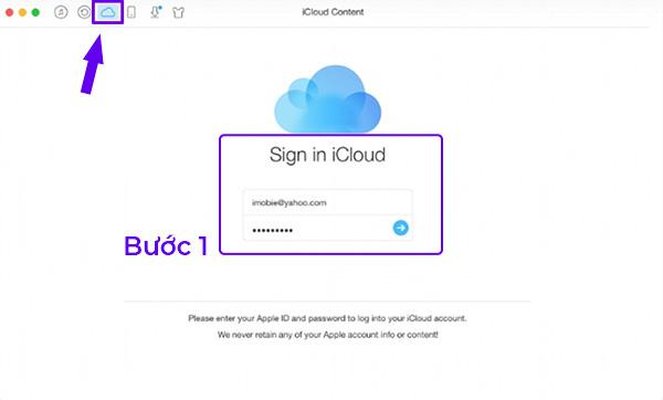 Đăng nhập vào tài khoản iCloud