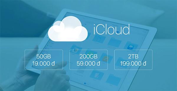 Giá gói Data iCloud khi mua thêm