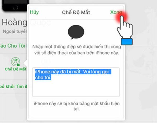 Chọn chế độ mất để khóa iPhone từ xa