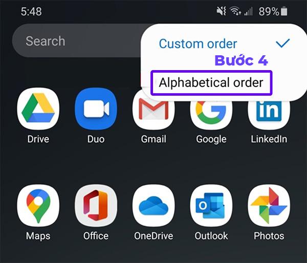 Chọn Alphabetical Order để tự động sắp xếp ứng dụng