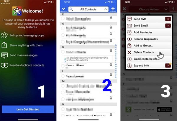 Sử dụng phần mềm Group để xóa danh bạ trên iPhone