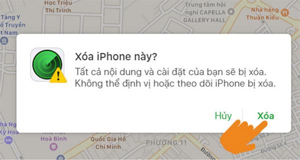 Xác nhận xóa iPhone hoàn tất