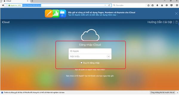 Đăng nhập tài khoản iCloud trên máy tính