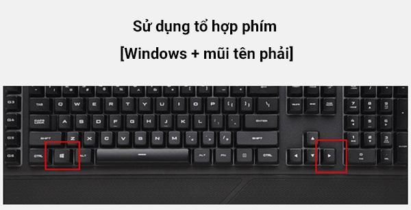 Sử dụng tổ hợp phím Windows + mũi tên phải để tắt màn hình máy tính Windows 7