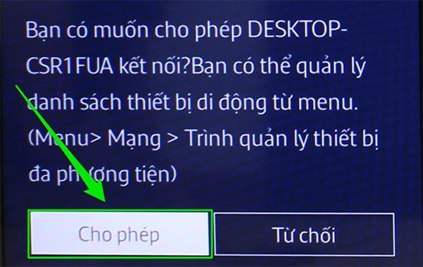 Nhấn cho phép để đồng ý kết nối