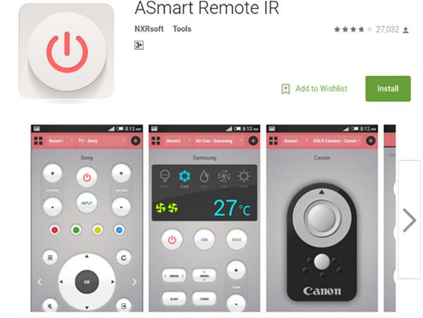 Cách điều khiển điều hòa bằng Android ASmart Remote IR