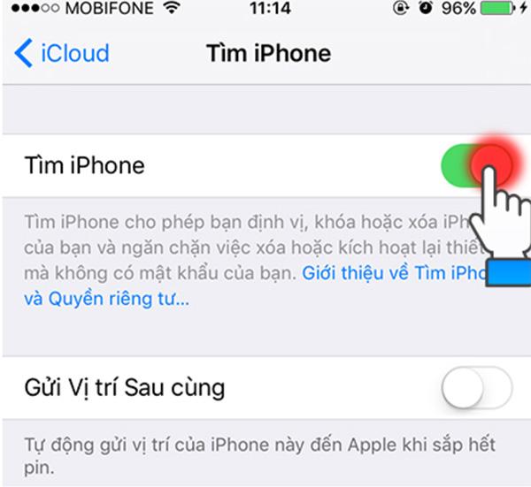 Cách bật tính năng Find My iPhone trên điện thoại